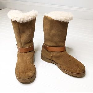 Youth UGG brown suede boots leather buckle strap 3